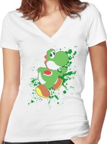Yoshi - Super Smash Bros  Women's Fitted V-Neck T-Shirt