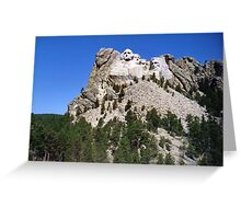Mount Rushmore with Pine Trees Below and Blue Sky Greeting Card