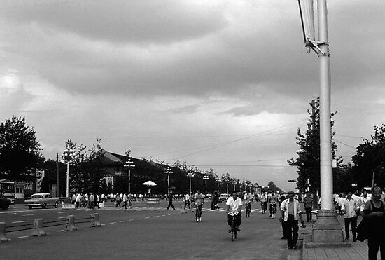BW China Pekin street Tiananmen square 1970s by blackwhitephoto