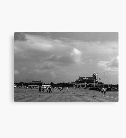 BW China pekin Tiananmen square 1970s Canvas Print