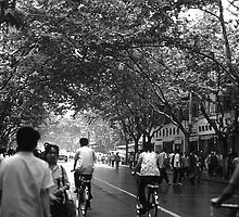BW China Shanghai street 1970s by blackwhitephoto