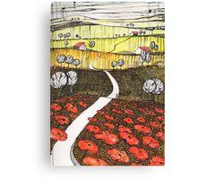 Vista over the poppyfields Canvas Print