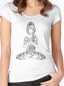 Yoga Om Chakras Mindfulness Meditation Zen 3 Women's Fitted Scoop T-Shirt