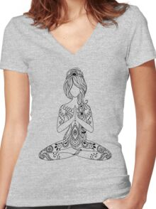 Yoga Om Chakras Mindfulness Meditation Zen 3 Women's Fitted V-Neck T-Shirt