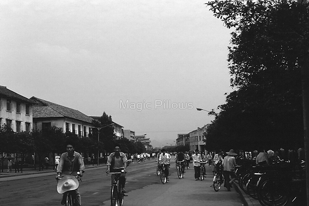 BW China Guilin street bicycles 1970s by blackwhitephoto