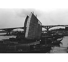 BW China Changsha xiang jiang river boat 1970s Photographic Print