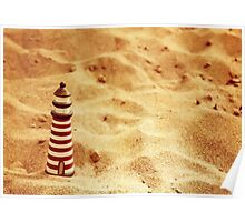 Redscale Lighthouse In The Sand Poster