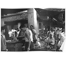BW China changsha market 1970s Poster