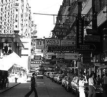 BW China Hong Kong street City cars 1970s by blackwhitephoto