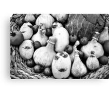 THERE IS A FUNNY FACE POTATO THERE!!! Food in B&W  Canvas Print