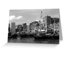 BW China Hong Kong houseboats river 1970s Greeting Card