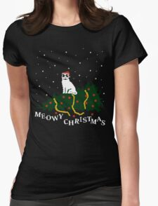 meowy christmas - cat vs. tree Womens Fitted T-Shirt