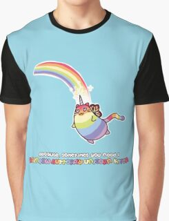 Rainbow Butterfly Unicorn Kitten Graphic T-Shirt