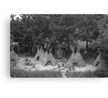 BW USA California disneyland Indian camp 1970s Canvas Print