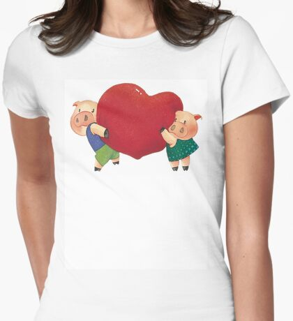 "Valentine's Day ""Pigs In Love"" T-Shirt Womens Fitted T-Shirt"