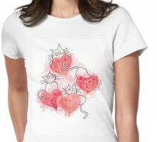 Valentine's Day Cats T-Shirt Womens Fitted T-Shirt