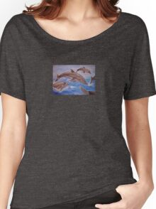Jumping Dolphins And  Blue Sea Women's Relaxed Fit T-Shirt