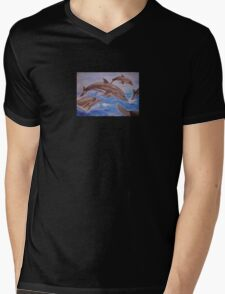 Jumping Dolphins And  Blue Sea Mens V-Neck T-Shirt