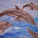 Jumping Dolphins And  Blue Sea by taiche