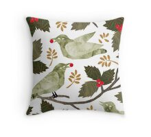 Birds and Holly Throw Pillow