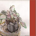 Watercolor painting of potted plant by s1lence