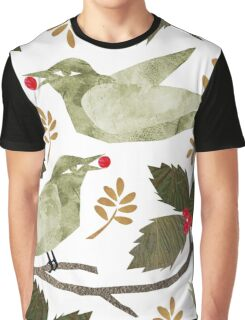 Birds and Holly Graphic T-Shirt