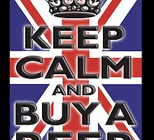 UNION JACK, BRITISH, FLAG, KEEP CALM & BUY A BEER, UK, ON BLACK by TOM HILL - Designer