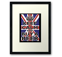 UNION JACK, BRITISH, FLAG, BLIGHTY, KEEP CALM & BUY A BEER, UK, ON BLACK Framed Print
