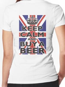 UNION JACK, BRITISH, FLAG, BLIGHTY, KEEP CALM & BUY A BEER, UK, ON BLACK Women's Fitted V-Neck T-Shirt