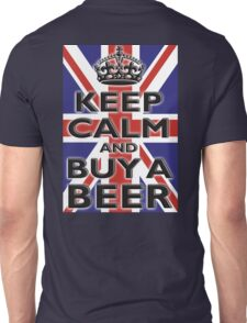 UNION JACK, BRITISH, FLAG, BLIGHTY, KEEP CALM & BUY A BEER, UK, ON BLACK Unisex T-Shirt