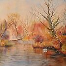 Autumn on the canal - West Hythe by Beatrice Cloake