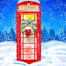 British Red Telephone Box In Falling Christmas Snow by Mark Tisdale