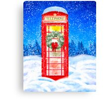 British Red Telephone Box In Falling Christmas Snow Canvas Print