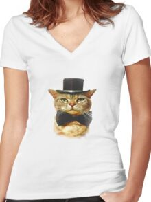 Top Hat Retro Cat Tee! Women's Fitted V-Neck T-Shirt