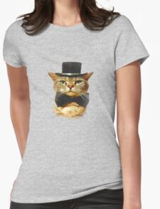 Top Hat Retro Cat Tee! Womens Fitted T-Shirt