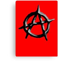 ANARCHY, ANARCHIST, Politics, Revolution, Protest, Disorder, Unrest, Symbol on red in black Canvas Print