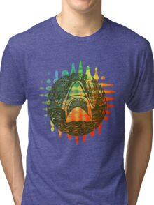 Multi coloured shark  Tri-blend T-Shirt
