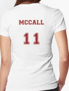 Scott McCall Jersey from Teen Wolf - Red Text Womens Fitted T-Shirt