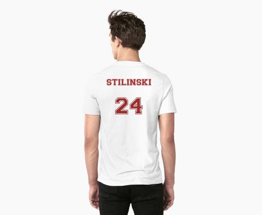 Stiles Stilinski Jersey from Teen Wolf - Red Text by CaptainFlowers5