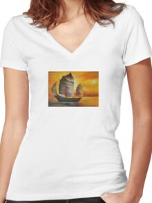 Chinese Junk In Shades Of Ochre and Umber Women's Fitted V-Neck T-Shirt