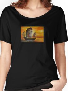 Chinese Junk In Shades Of Ochre and Umber Women's Relaxed Fit T-Shirt