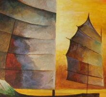 Chinese Junk In Shades Of Ochre and Umber Sticker