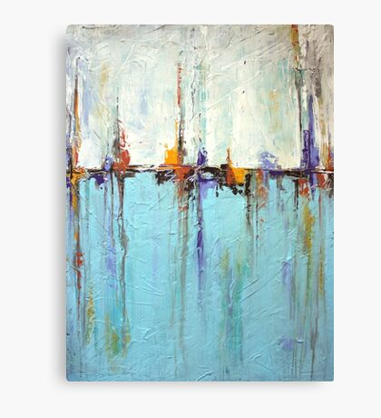 Sailing - Abstract Seascape in White and Blue Canvas Print