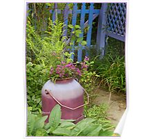 Purple Garden Urn in September with Goldenrod and Ironweed Poster