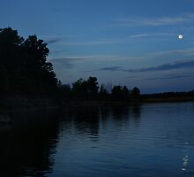 Moon over Barren River Lake by Nicole  McKinney