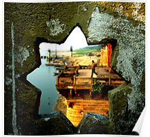 Looking through the star on a Temple wall at the Ganga, India. Poster