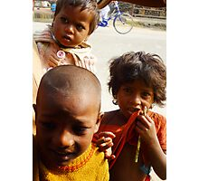 Indian kids saying 'hello'.2 Photographic Print