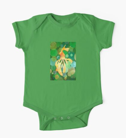 Vermilion Goldfish Swimming In Green Sea of Bubbles One Piece - Short Sleeve