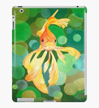 Vermilion Goldfish Swimming In Green Sea of Bubbles iPad Case/Skin