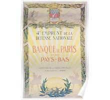 Banque de Paris et des Pays Bas 4e Emprunt de la Défense Nationale Poster